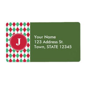 Customized Christmas Checker Pattern Label