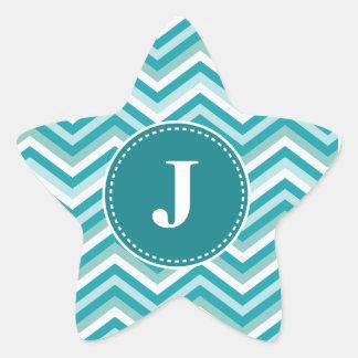 Customized Christmas Chevron Pattern Star Sticker