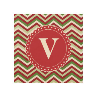 Customized Christmas Chevron Pattern Wood Canvas