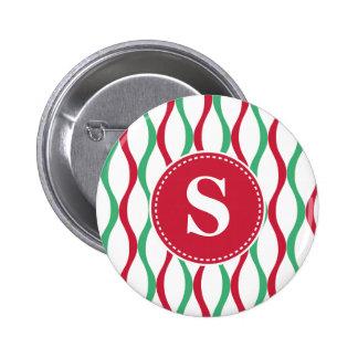 Customized Christmas Swirl Pattern Pinback Button
