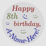 [ Thumbnail: Customized, Colorful 8th Birthday Sticker ]