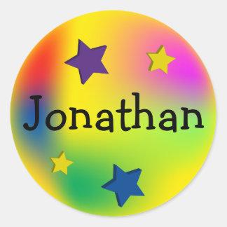 Customized Colorful Stars Classic Round Sticker