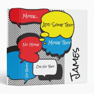 Customized Comic Book Speech Bubbles 3 Ring Binder