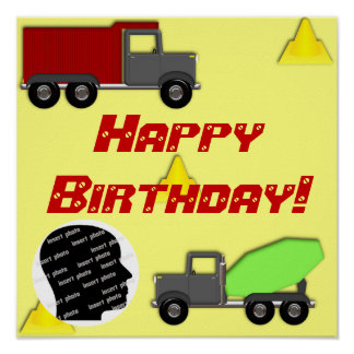 Customized Construction Birthday Poster