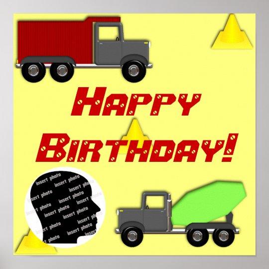 Customized Construction Birthday Poster