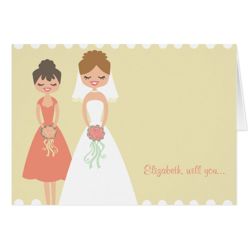 Customized Coral-Cream Be My Bridesmaid Cards