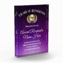 Customized Corporate Award Modern Purple Trophy