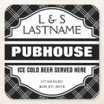 "Customized Couple  Pubhouse Beer Here Square Paper Coaster<br><div class=""desc"">A funny set of coasters for your next party. Personalize it with your initials and surname,  and the date of marriage. Bold black and white criss cross pattern background with a vintage shape sign and easy to read lettering.</div>"