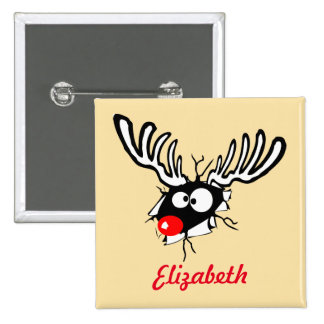 Customized Crazy Red Nosed Reindeer 2 Inch Square Button