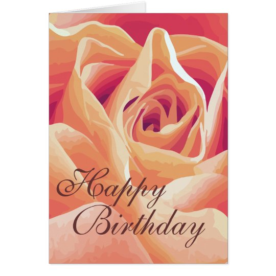 Customized Cream Pink Rose Card
