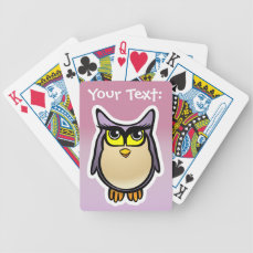 Customized Cute Owl Cartoon With Big Eyelashes Bicycle Playing Cards