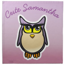 Customized Cute Owl Cartoon With Big Eyelashes Napkin
