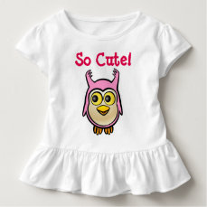 Customized Cute Pink Baby Owl Cartoon Toddler T-shirt