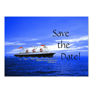 Customized Cute Ship Wedding Cruise Save the Date 5x7 Paper Invitation Card