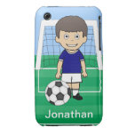 Customized Cute Soccer Player Blue White iPhone 3 Case-Mate Cases
