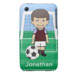 Customized Cute Soccer Player Claret Blue iPhone 3 Case-Mate Cases