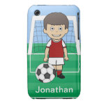 Customized Cute Soccer Player Red White iPhone 3 Case-Mate Cases