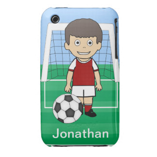 Customized Cute Soccer Player Red White iPhone 3 Cases