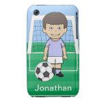 Customized Cute Soccer Player sky Blue iPhone 3 Case