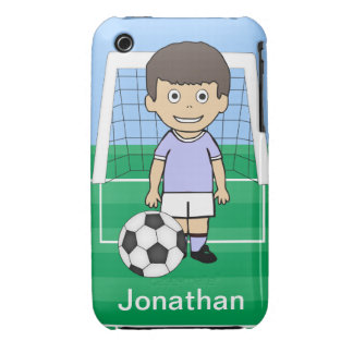 Customized Cute Soccer Player sky Blue iPhone 3 Case