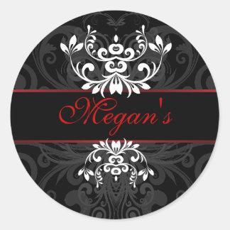 Customized Dark Elegance Classic Round Sticker