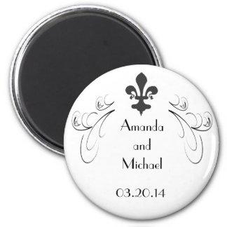 Customized Decorative Fleur de Lis Wedding Magnet