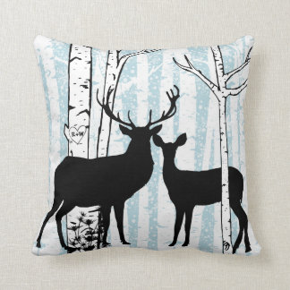 Customized Deer in Love Birch Forest Throw Pillow