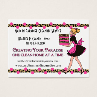 Customized Dots Leopard Print Cleaning Service Business Card