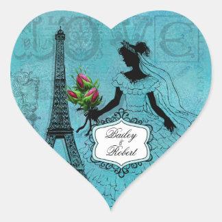 Customized Eiffel Tower Bride Heart Stickers