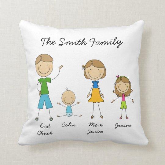 Customized Family Stick Figure Pillow