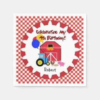 Customized Farm 4th Birthday Paper Napkins
