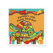Customized Fiesta Birthday Paper Napkins
