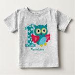 Customized First Birthday Owl Baby T-Shirt