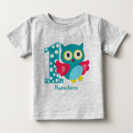 Customized First Birthday Owl Baby T-Shirt