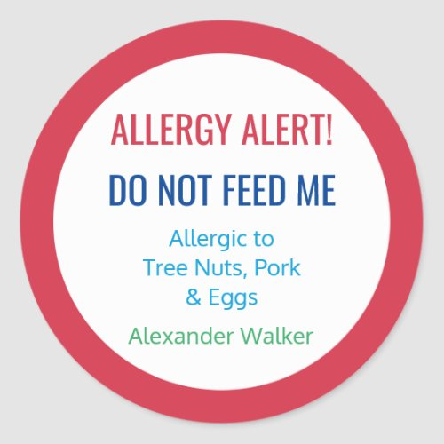 Customized Food Allergy Alert Personalized Kids Classic Round Sticker