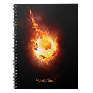 Customized Football under Fire, Ball, Soccer Spiral Notebook