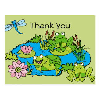 Customized Frog Pond Birthday Thank You Postcard