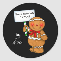 Customized Gingerbread Holiday Treat Stickers