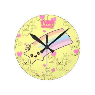 Customized Girl Accessories Kawaii Weather Yellow Round Clock
