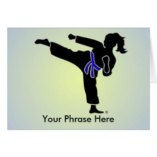 Customized Girl Silhouette, Blue Belt, Card