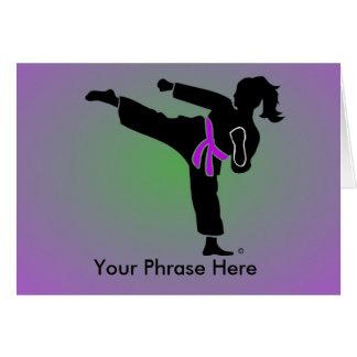 Customized Girl Silhouette, Purple Belt, Card