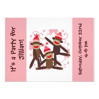 Customized Girl Sock Monkey 5x7 Invitations