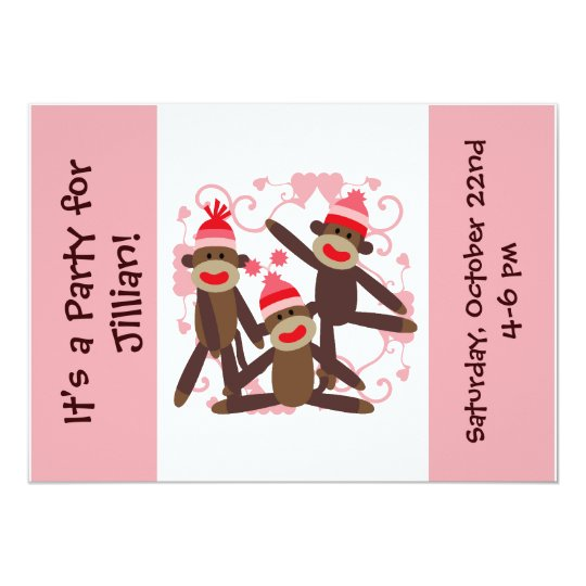 Customized Girl Sock Monkey 5x7 Invitations