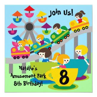 Customized Girls Amusement Park Birthday Invites