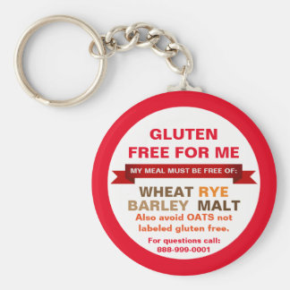 Customized Gluten Free Food Guide Medical Info Keychain