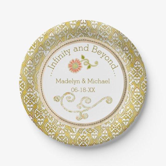 Customized Gold Damask Wedding Paper Plates