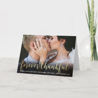 Customized Gold Gradient Photo Forever Thankful Thank You Card