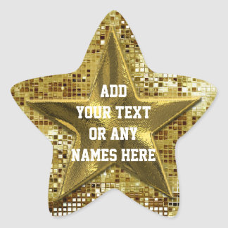 Customized Gold Star On Gold Sequins Star Sticker
