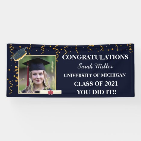 customized graduation 2021 with name and Photo Banner