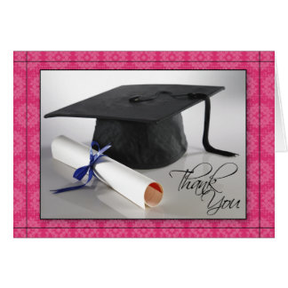 Customized Graduation Thank You Card (fuschia)